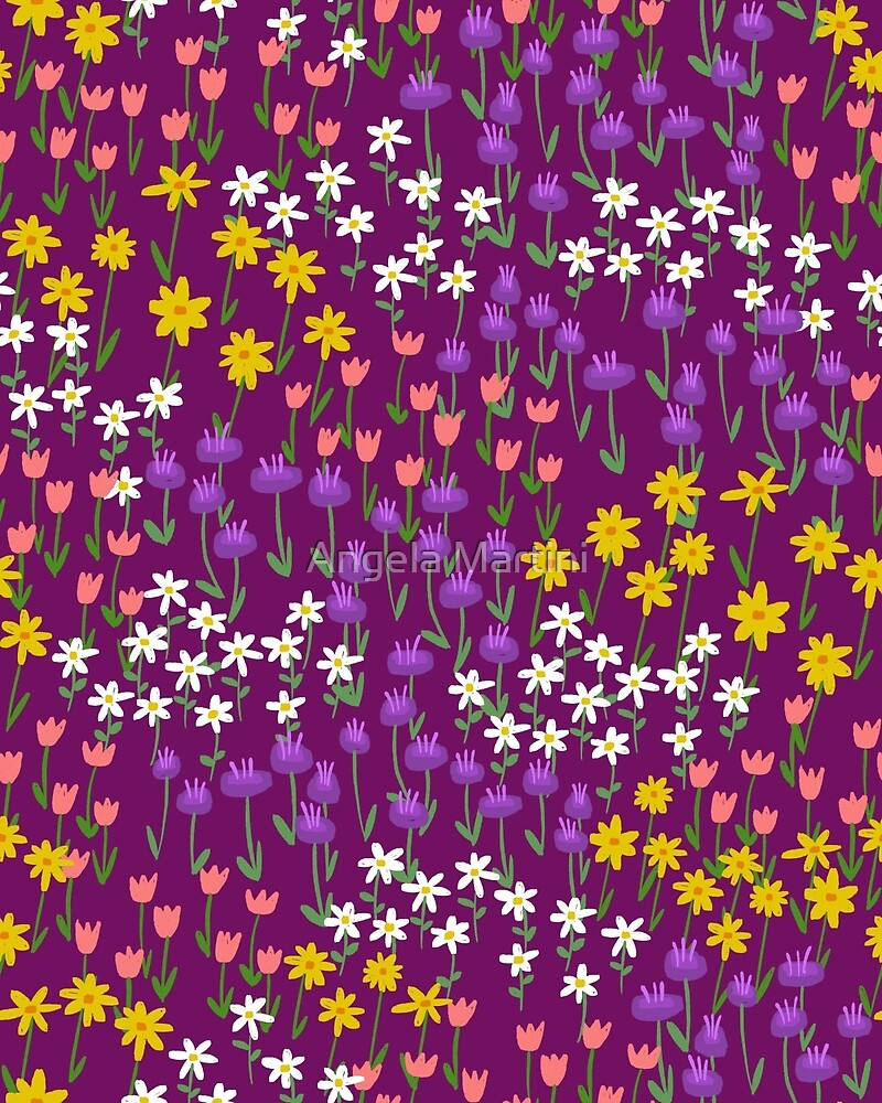 Violet Field of Flowers by Angela Martini