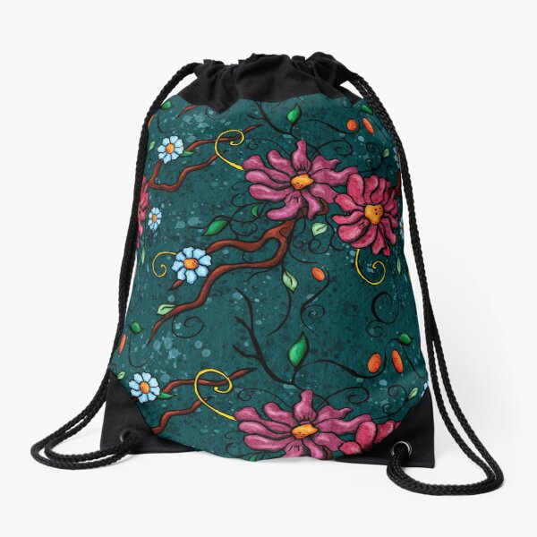 Pink flowers on duck blue background Drawstring Bag