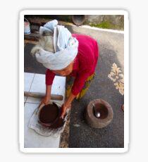 Balinese lady sifting coffee Sticker