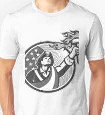 American Patriot Holding Torch Circle Grayscale Unisex T-Shirt