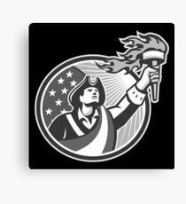 American Patriot Holding Torch Circle Grayscale Canvas Print