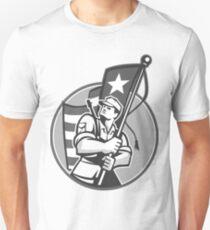 American Patriot Serviceman Soldier Flag Grayscale Unisex T-Shirt