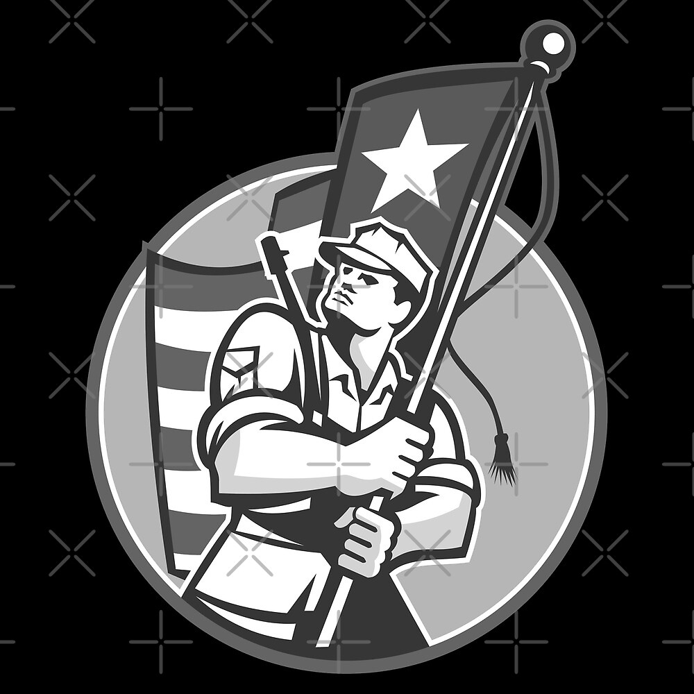 American Patriot Serviceman Soldier Flag Grayscale by patrimonio