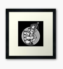 American Patriot Serviceman Soldier Flag Grayscale Framed Print