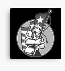 American Patriot Serviceman Soldier Flag Grayscale Canvas Print