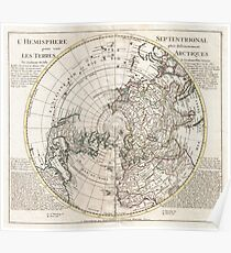 Vintage Map of The Northern Hemisphere (1741) Poster