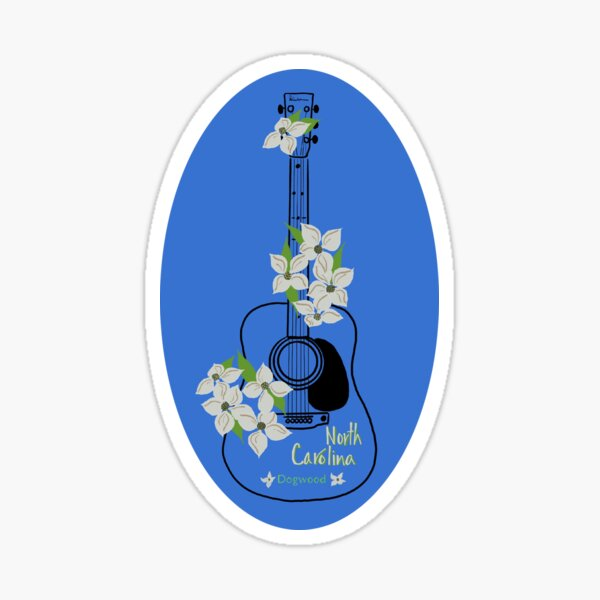 Guitar with North Carolina state flower Dogwood Sticker