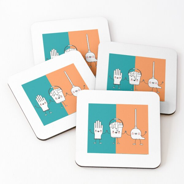 Cleaning Friends Coasters (Set of 4)