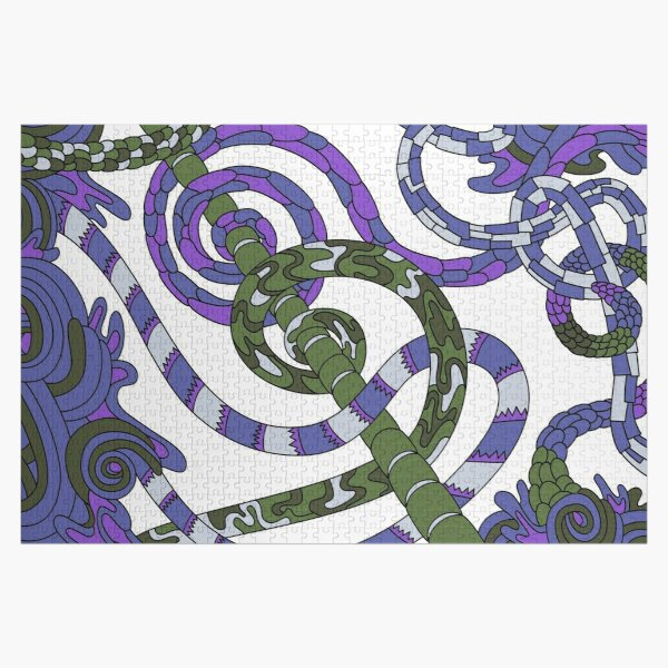 Wandering Abstract Line Art 46: Purple Jigsaw Puzzle