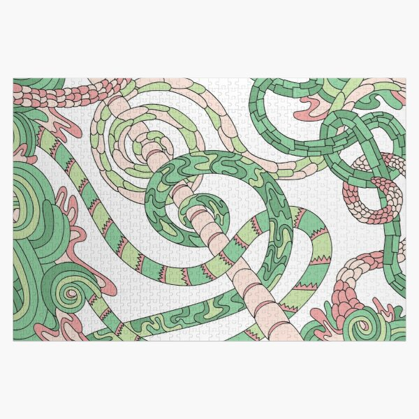 Wandering Abstract Line Art 46: Green Jigsaw Puzzle