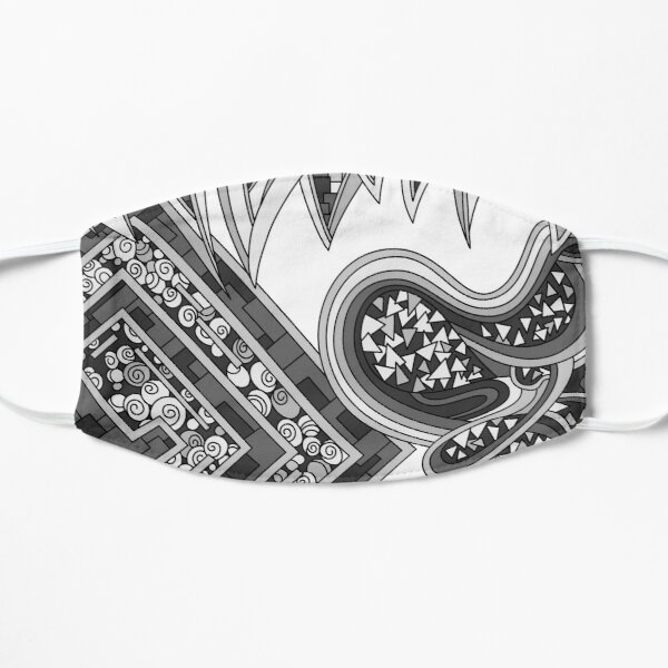 Wandering Abstract Line Art 47: Grayscale Flat Mask