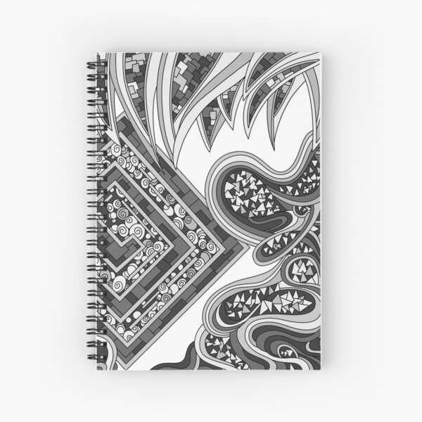 Wandering Abstract Line Art 47: Grayscale Spiral Notebook