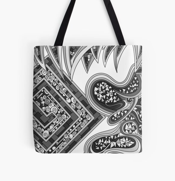 Wandering Abstract Line Art 47: Grayscale All Over Print Tote Bag