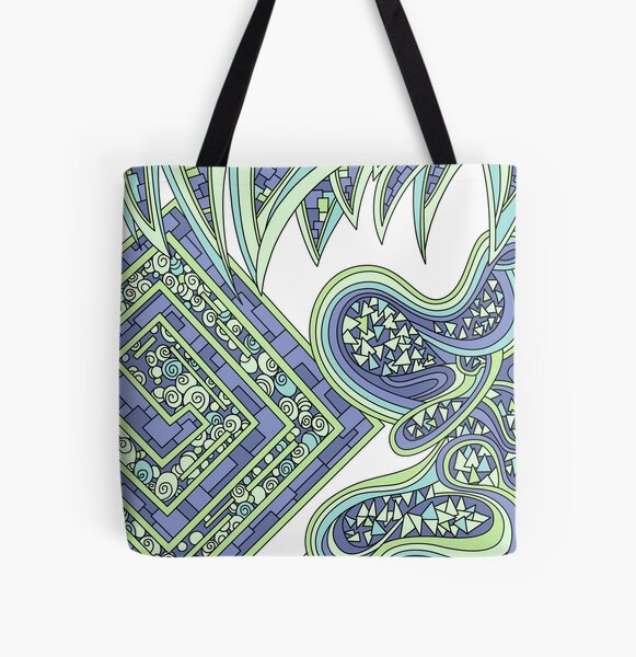 Wandering Abstract Line Art 47: Green All Over Print Tote Bag