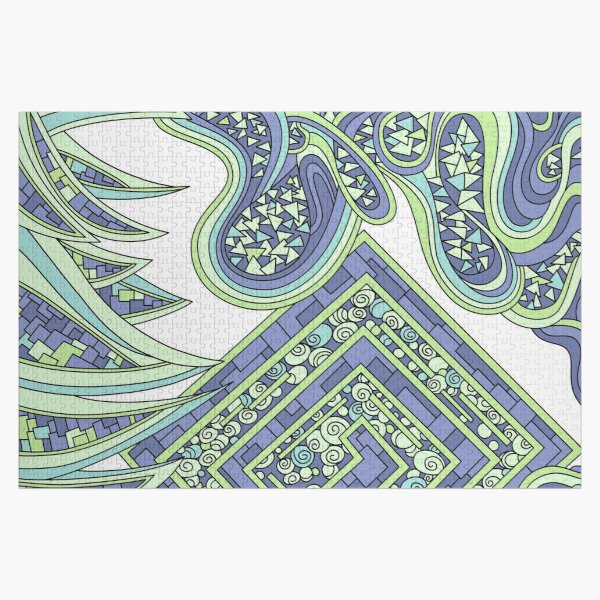 Wandering Abstract Line Art 47: Green Jigsaw Puzzle