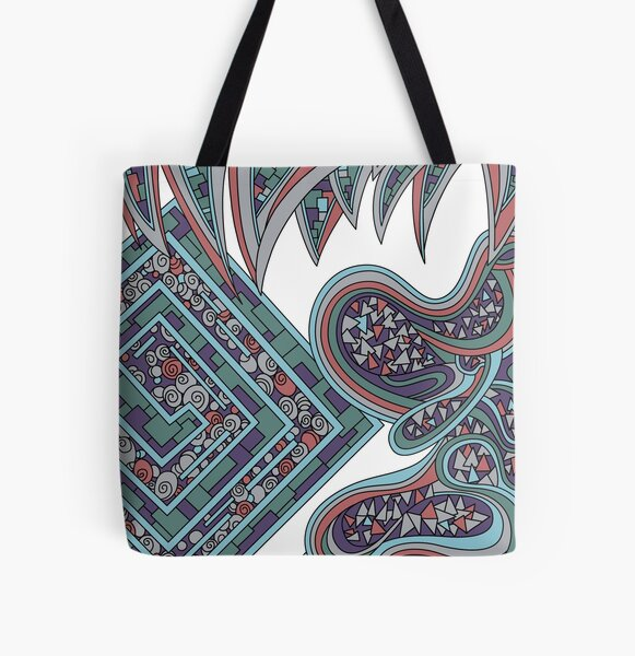 Wandering Abstract Line Art 47: Blue All Over Print Tote Bag