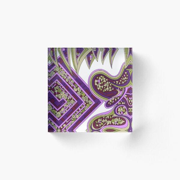 Wandering Abstract Line Art 47: Purple Acrylic Block