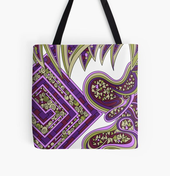 Wandering Abstract Line Art 47: Purple All Over Print Tote Bag