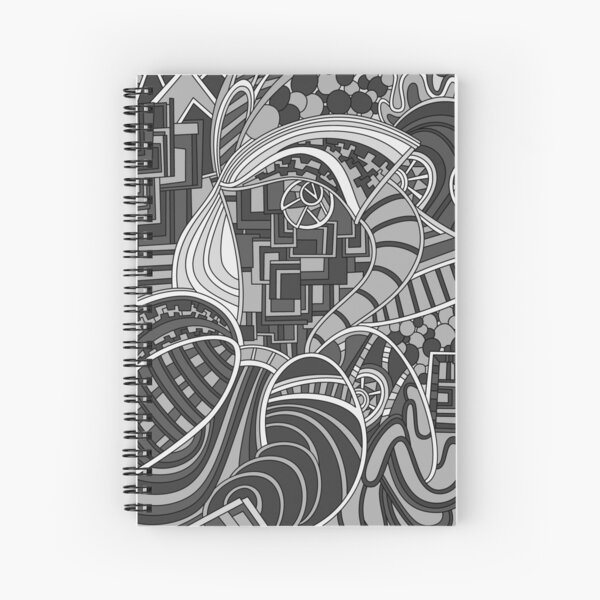 Wandering Abstract Line Art 48: Grayscale Spiral Notebook