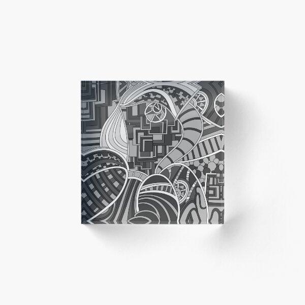 Wandering Abstract Line Art 48: Grayscale Acrylic Block