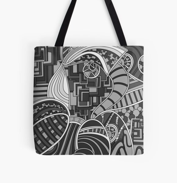 Wandering Abstract Line Art 48: Grayscale All Over Print Tote Bag