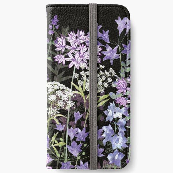 Flower Garden at Midnight - Allium Eros, Larkspur, Ammi, Cluster Lilies, Catmint iPhone Wallet