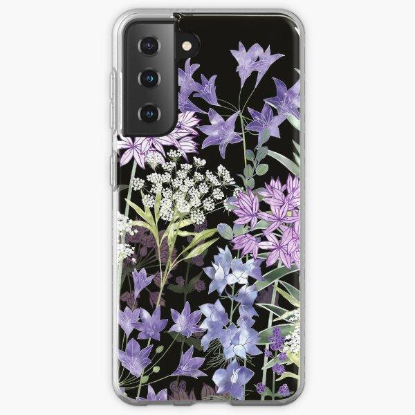 Flower Garden at Midnight - Allium Eros, Larkspur, Ammi, Cluster Lilies, Catmint Samsung Galaxy Soft Case