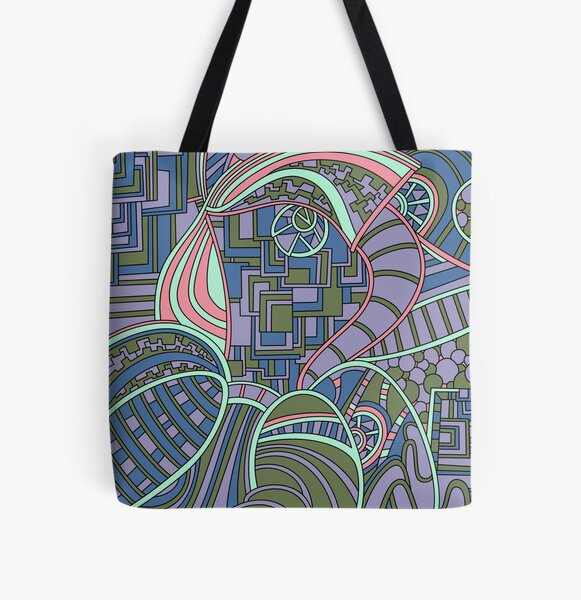 Wandering Abstract Line Art 48: Green All Over Print Tote Bag