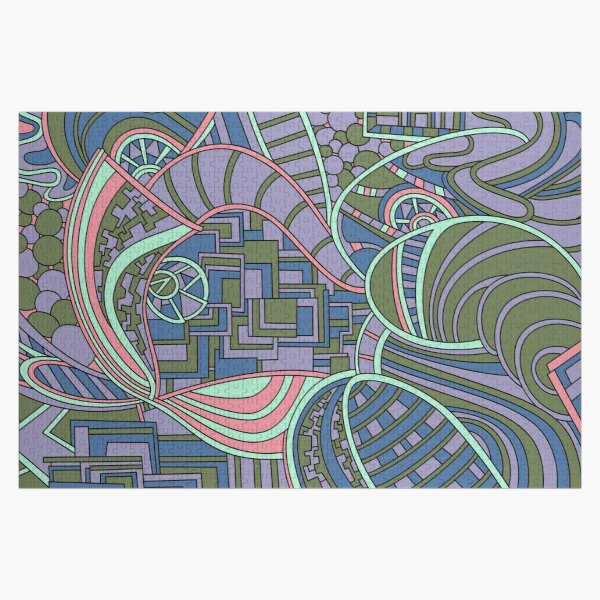 Wandering Abstract Line Art 48: Green Jigsaw Puzzle