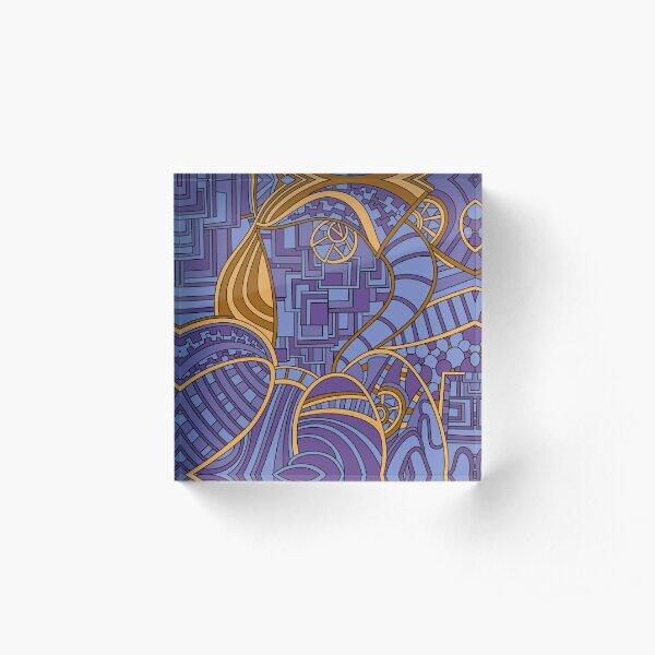 Wandering Abstract Line Art 48: Purple Acrylic Block