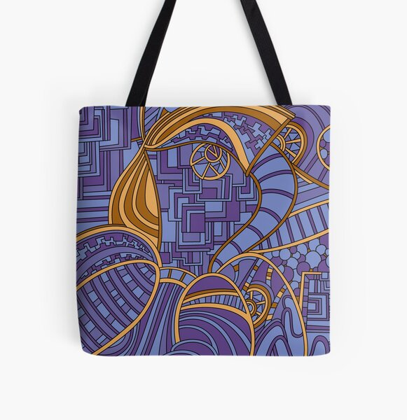 Wandering Abstract Line Art 48: Purple All Over Print Tote Bag