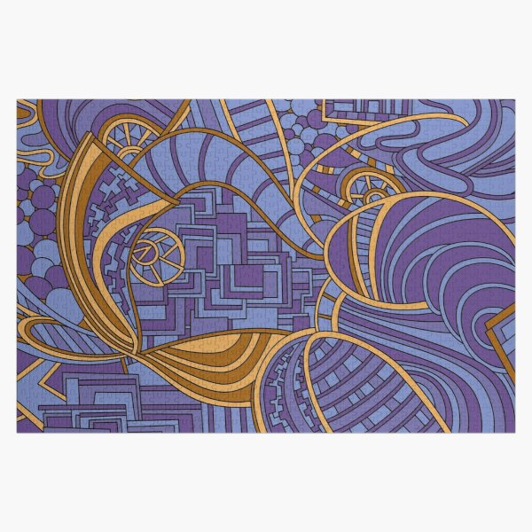 Wandering Abstract Line Art 48: Purple Jigsaw Puzzle