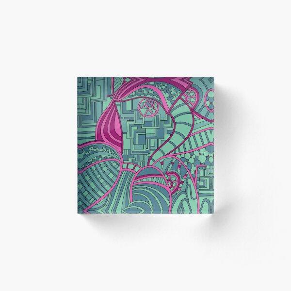 Wandering Abstract Line Art 48: Magenta Acrylic Block