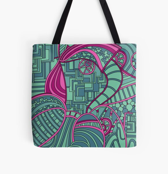 Wandering Abstract Line Art 48: Magenta All Over Print Tote Bag