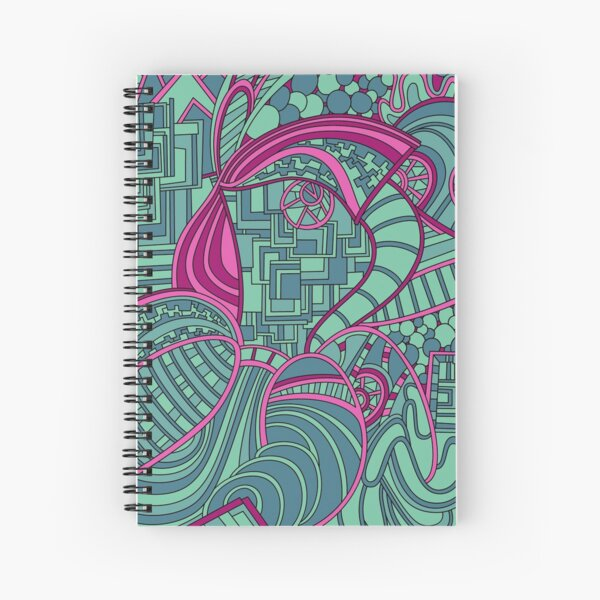 Wandering Abstract Line Art 48: Magenta Spiral Notebook