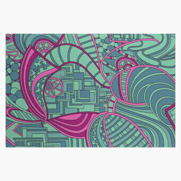Wandering Abstract Line Art 48: Magenta Jigsaw Puzzle