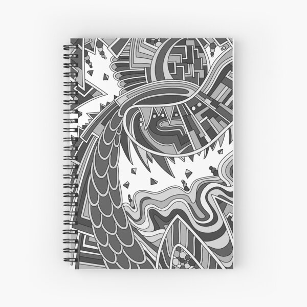 Wandering Abstract Line Art 49: Grayscale Spiral Notebook