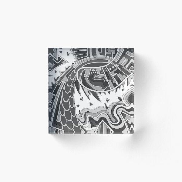 Wandering Abstract Line Art 49: Grayscale Acrylic Block