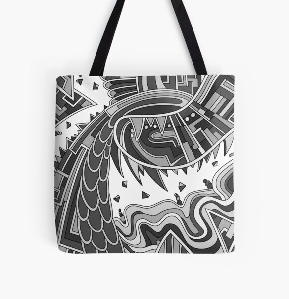 Wandering Abstract Line Art 49: Grayscale All Over Print Tote Bag