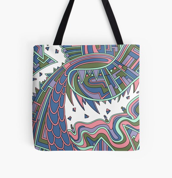 Wandering Abstract Line Art 49: Coral All Over Print Tote Bag