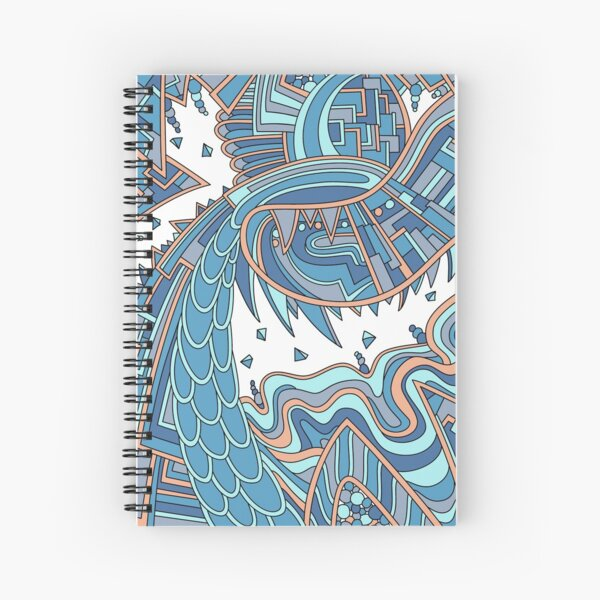 Wandering Abstract Line Art 49: Blue Spiral Notebook