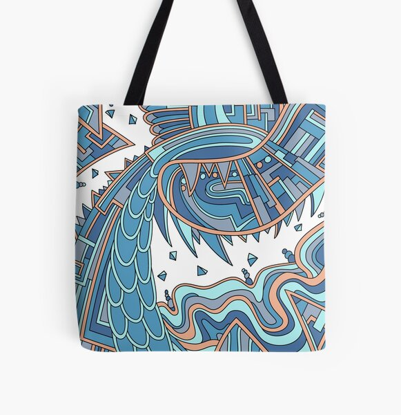 Wandering Abstract Line Art 49: Blue All Over Print Tote Bag