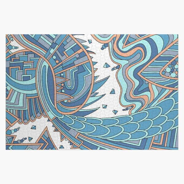 Wandering Abstract Line Art 49: Blue Jigsaw Puzzle