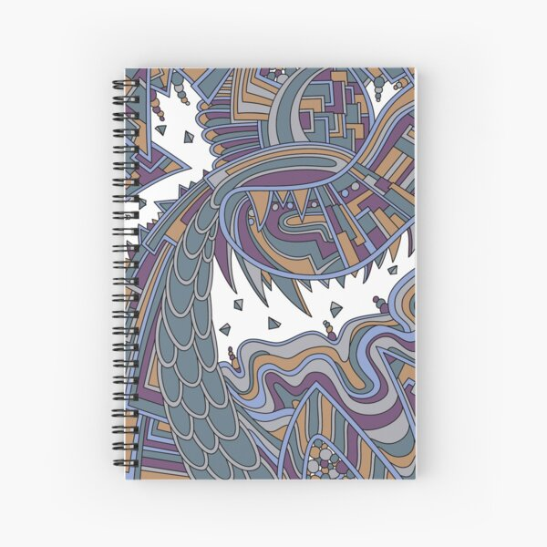 Wandering Abstract Line Art 49: Gold Spiral Notebook