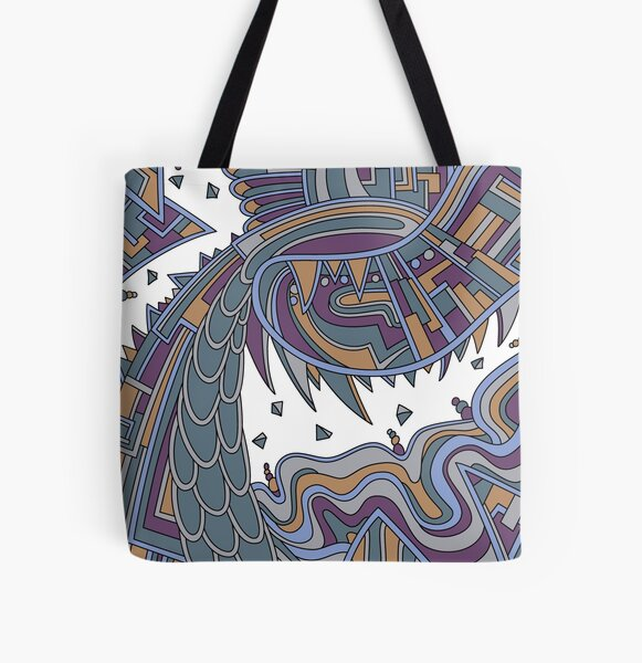 Wandering Abstract Line Art 49: Gold All Over Print Tote Bag
