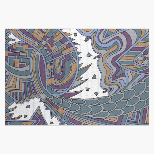 Wandering Abstract Line Art 49: Gold Jigsaw Puzzle