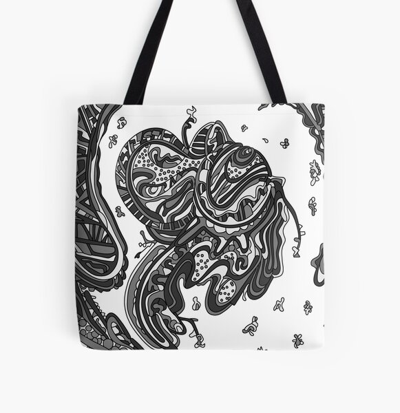 Wandering Abstract Line Art 50: Grayscale All Over Print Tote Bag