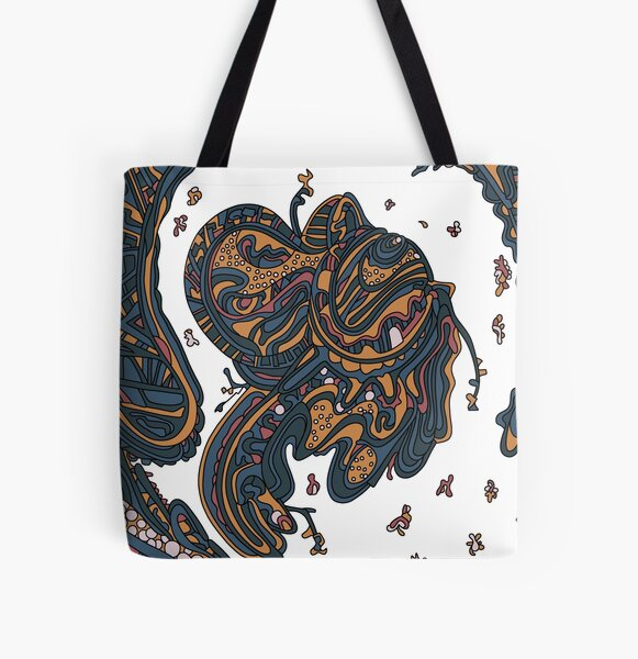 Wandering Abstract Line Art 50: Yellow All Over Print Tote Bag