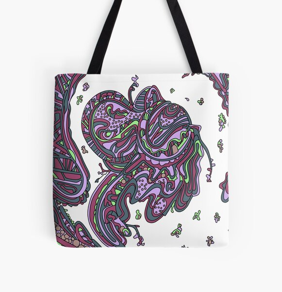 Wandering Abstract Line Art 50: Pink All Over Print Tote Bag