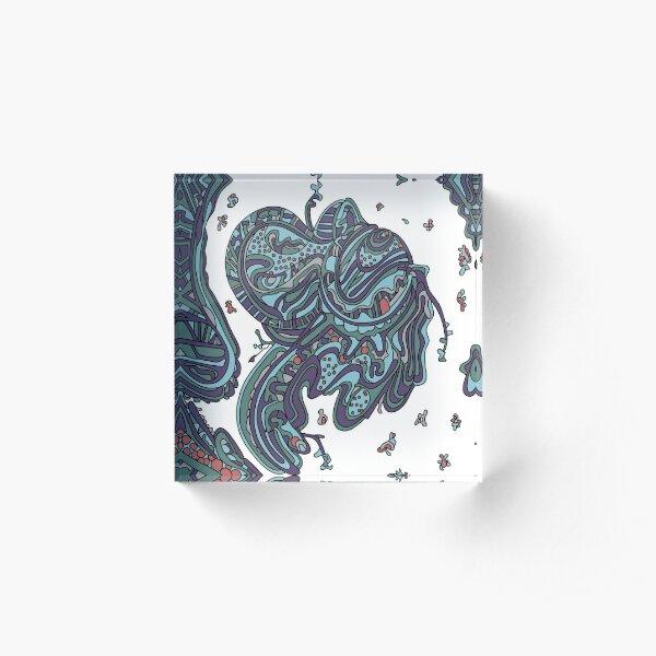 Wandering Abstract Line Art 50: Blue Acrylic Block